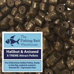 halibut & aniseed x-treme attract drilled pellets 75g