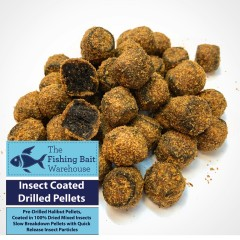 14mm insect coated drilled pellets