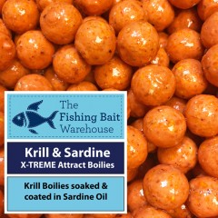 krill & sardine x-treme attract glugged boilies 100g